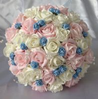 ARTIFICIAL WEDDING FLOWERS PINK/IVORY BLUE ROSE BRIDES WEDDING CRYSTAL BOUQUET